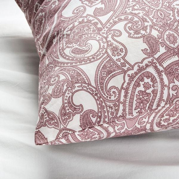 JÄTTEVALLMO Pillowcase, white/dark pink, 50x80 cm