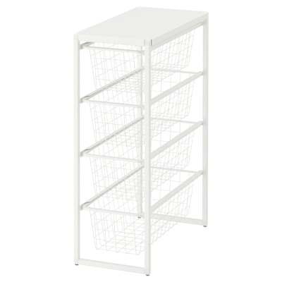 JONAXEL Frame/wire baskets/top shelf, white, 25x51x70 cm