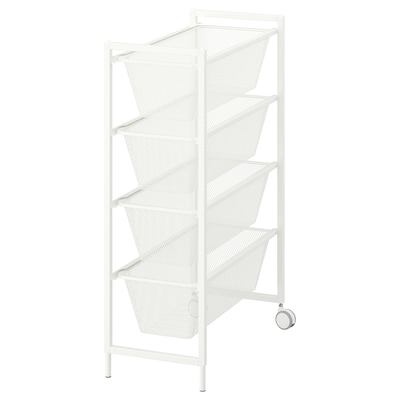 JONAXEL Frame with mesh baskets/castors, white, 25x51x73 cm