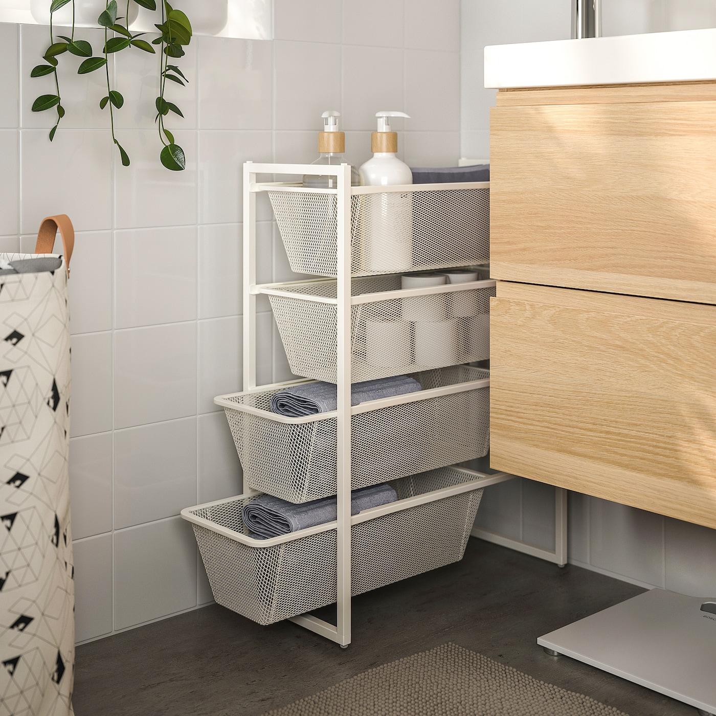 JONAXEL Frame with mesh baskets, white, 25x51x70 cm