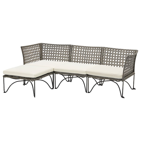 JUTHOLMEN 3-seat modular sofa, outdoor, dark grey/Kuddarna beige