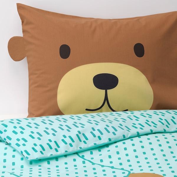 KÄPPHÄST Quilt cover and pillowcase, bear turquoise, 150x200/50x80 cm