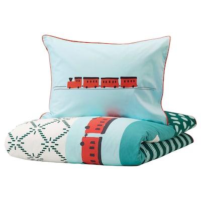 KÄPPHÄST Quilt cover and pillowcase, patchwork/toys, 150x200/50x80 cm
