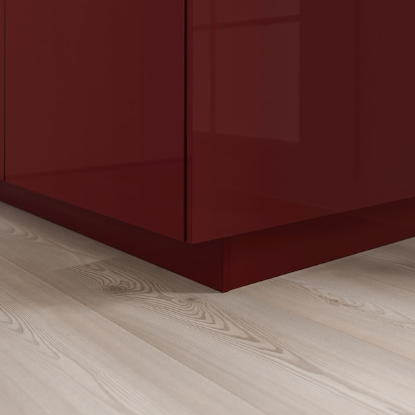 KALLARP Plinth, high-gloss dark red-brown, 220x8 cm