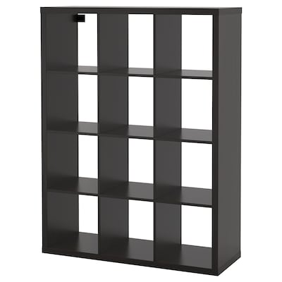 KALLAX Shelving unit, black-brown, 112x147 cm