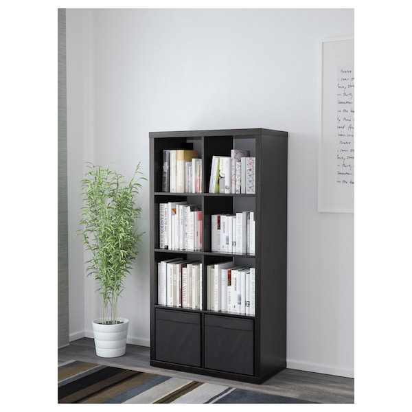 KALLAX Shelving unit with 2 inserts, black-brown, 77x147 cm