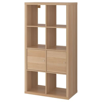 KALLAX Shelving unit with doors, white stained oak effect, 147x77 cm