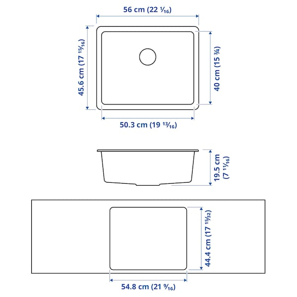 KILSVIKEN Inset sink, 1 bowl, black quartz composite, 56x46 cm