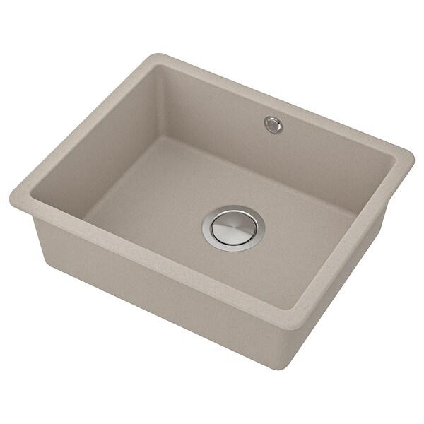 KILSVIKEN Inset sink, 1 bowl, grey/beige quartz composite, 56x46 cm