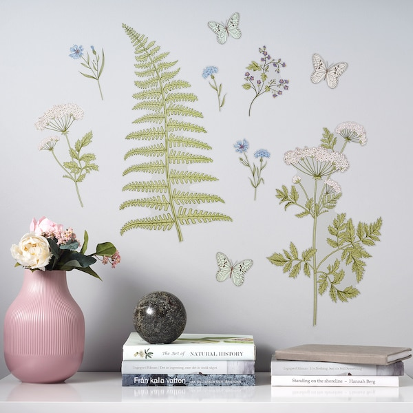 KINNARED Decoration stickers, Fern & flowers