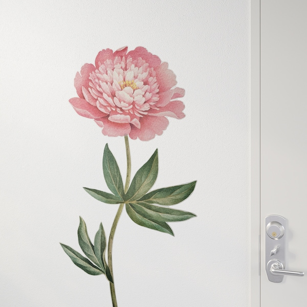 KINNARED Decoration stickers, Pink peony, 116 cm