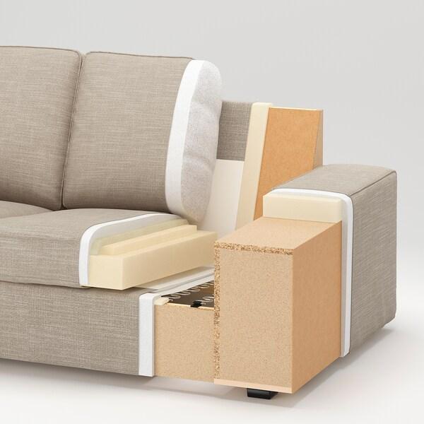KIVIK كنبة 3 مقاعد, مع أريكة طويلة/Orrsta رمادي فاتح
