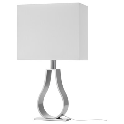 KLABB Table lamp, off-white/nickel-plated, 60 cm