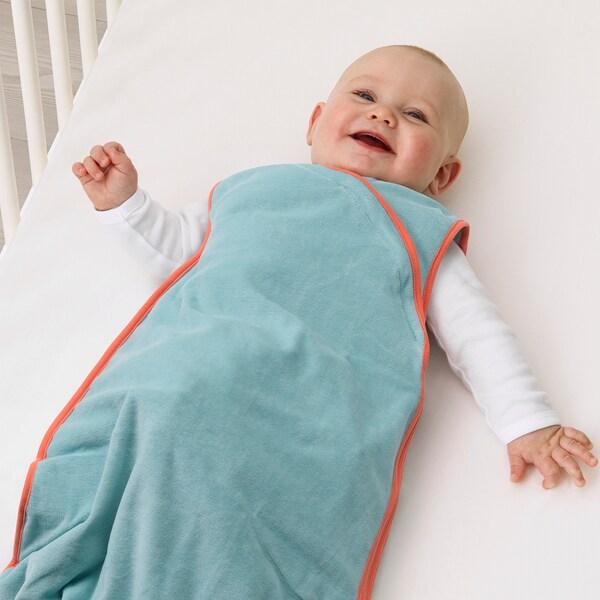 KLÄMMIG Sleeping bag, turquoise/red, 0-6