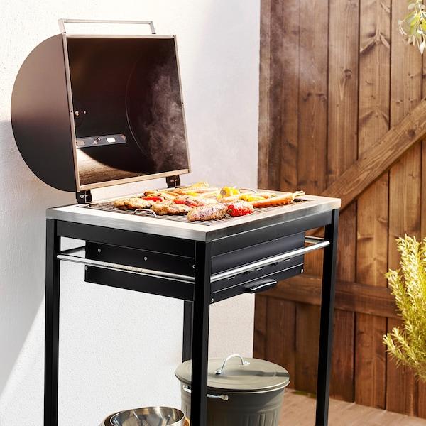 KLASEN charcoal barbecue stainless steel 74 cm 57 cm 109 cm 30 kg