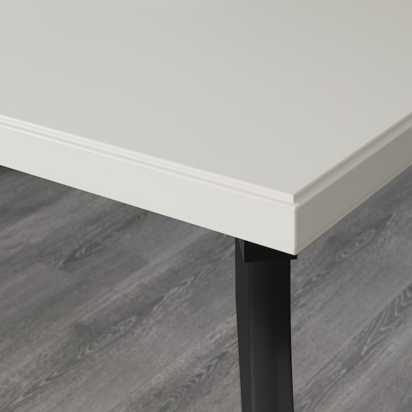 KLIMPEN / LALLE Table, light grey/black, 120x60 cm