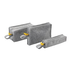 KNALLBÅGE accessory bag, set of 3, felt