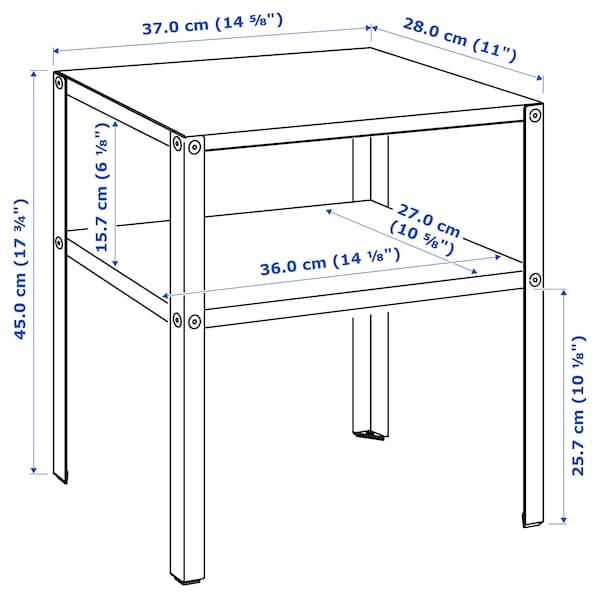 KNARREVIK Bedside table, black, 37x28 cm