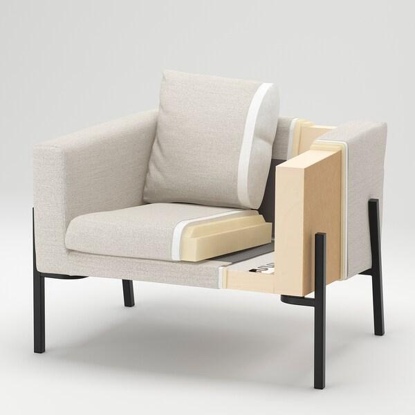 KOARP كرسي بذراعين, Gunnared رمادي معتدل/أسود