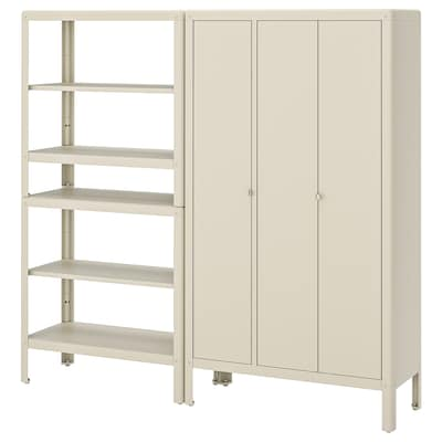 KOLBJÖRN Shelving unit with cabinet, beige, 251x37x161 cm