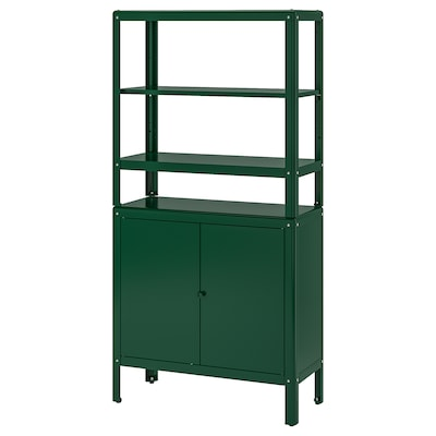 KOLBJÖRN Shelving unit with cabinet, green, 80x37x161 cm