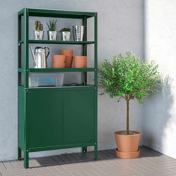 KOLBJÖRN shelving unit with cabinet green 80 cm 37 cm 161 cm