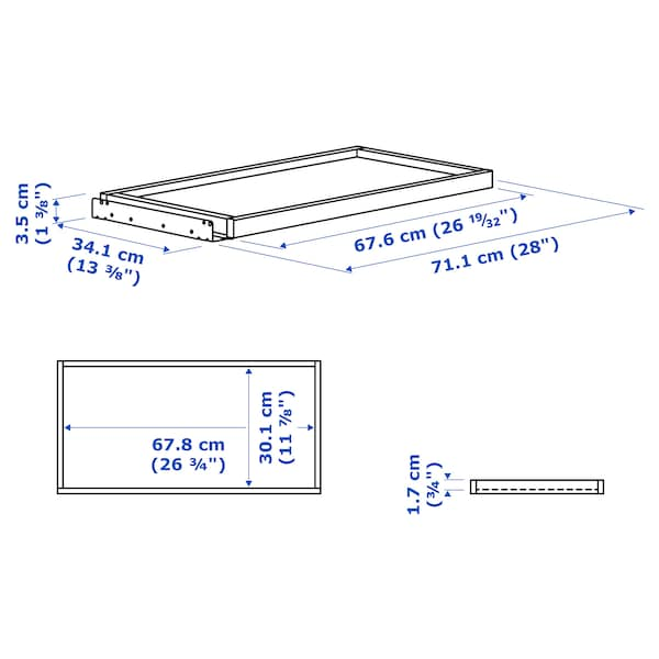 KOMPLEMENT pull-out tray white 67.6 cm 75 cm 33.3 cm 3.5 cm 35 cm 10 kg