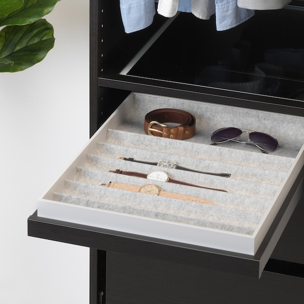 KOMPLEMENT Pull-out tray with insert, black-brown, 50x58 cm
