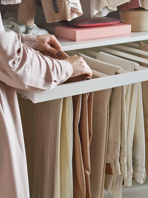 KOMPLEMENT Pull-out trouser hanger, white, 75x58 cm