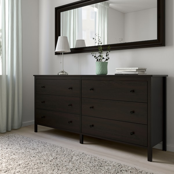 KOPPANG Chest of 6 drawers, black-brown, 172x83 cm