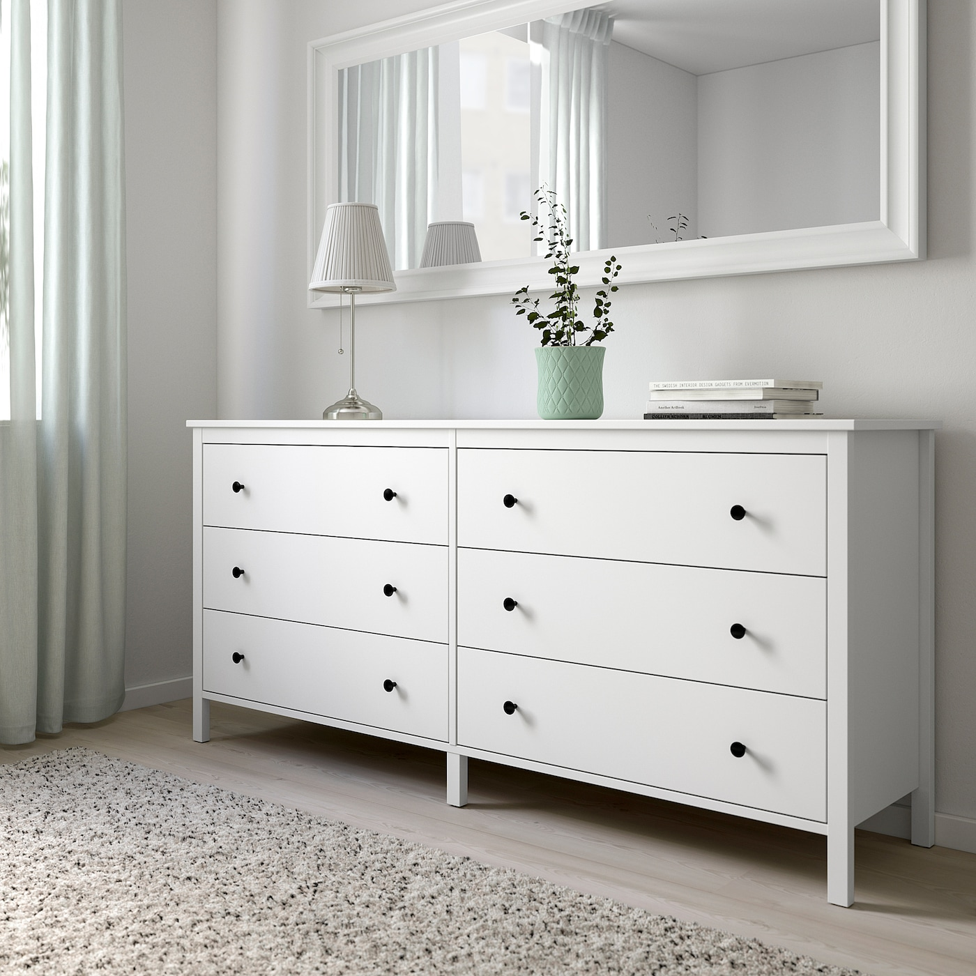 KOPPANG Chest of 6 drawers, white, 172x83 cm