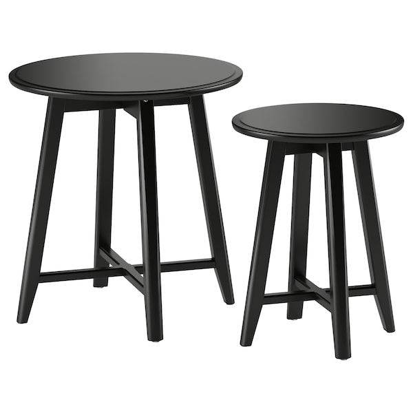 KRAGSTA طاولات متداخلة، طقم من 2., أسود
