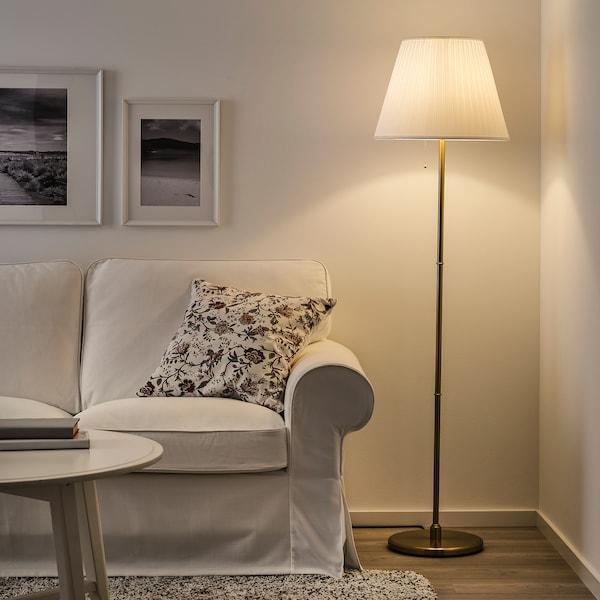 KRYSSMAST Floor lamp base, brass-plated