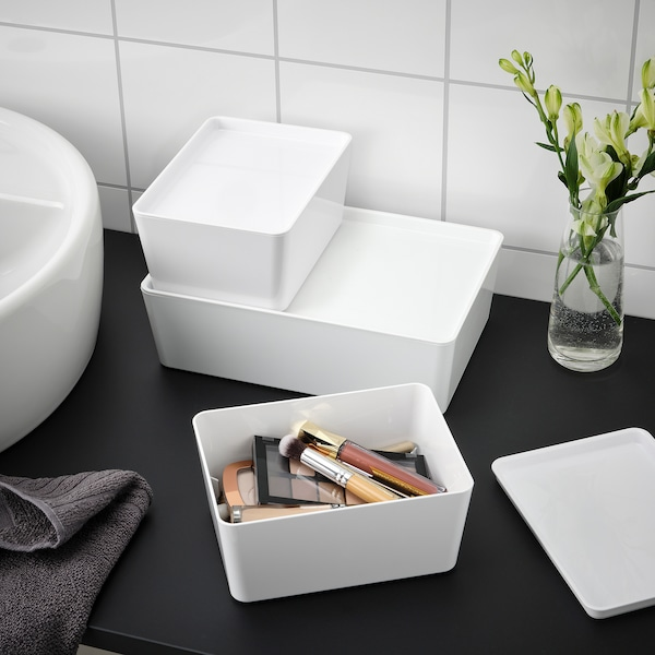 KUGGIS صندوق بغطاء, أبيض, 13x18x8 سم