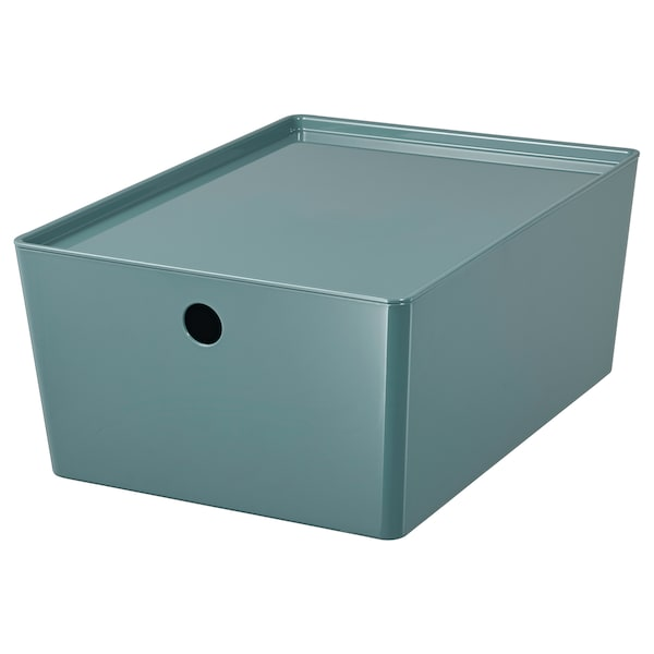 KUGGIS Storage box with lid, turquoise, 26x35x15 cm