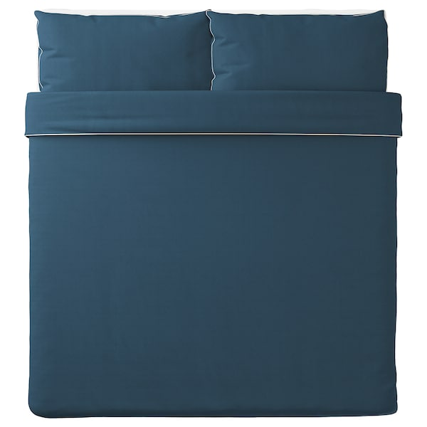 KUNGSBLOMMA Duvet cover and 2 pillowcases, dark blue/white, 240x220/50x80 cm