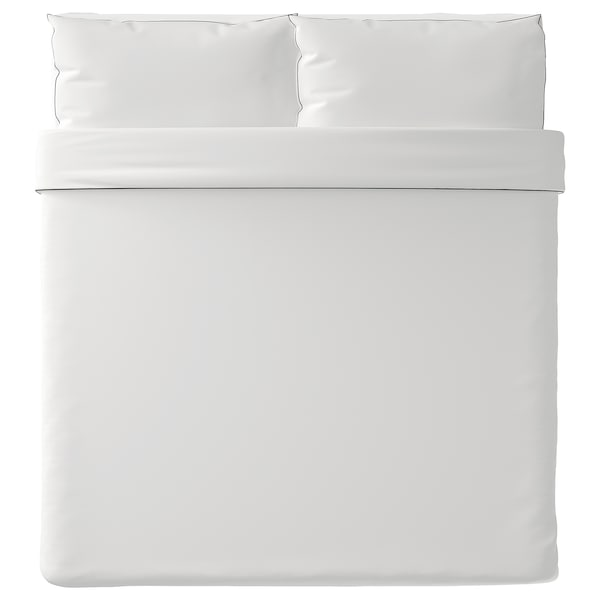 KUNGSBLOMMA Quilt cover and 2 pillowcases, white/grey, 240x220/50x80 cm