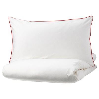 KUNGSBLOMMA غطاء لحاف/2كيس مخدة, أبيض/أحمر, 240x220/50x80 سم