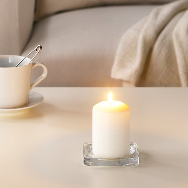 LÄTTNAD Unscented block candle, natural, 10 cm
