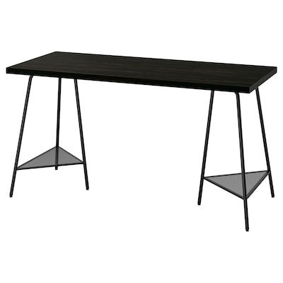 LAGKAPTEN / TILLSLAG Desk, black-brown/black, 140x60 cm