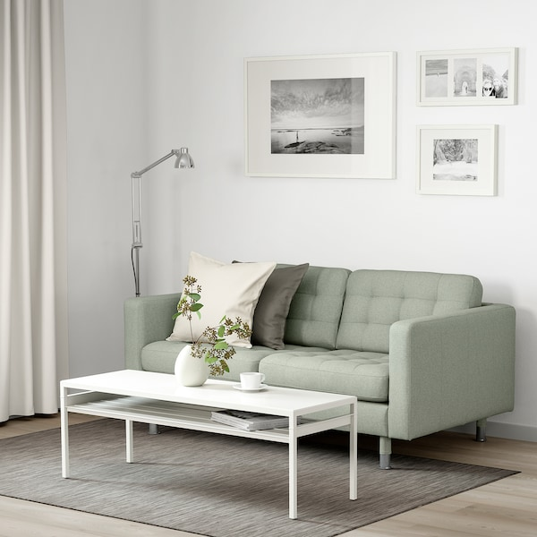 LANDSKRONA 2-seat sofa, Gunnared light green/metal