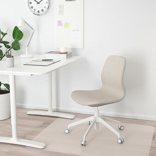 LÅNGFJÄLL Office chair - Gunnared beige, white - IKEA