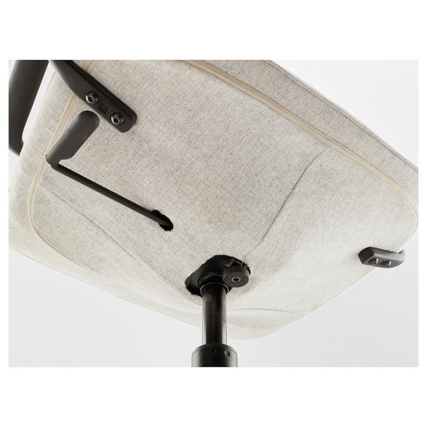 LÅNGFJÄLL Office chair with armrests, Gunnared beige/black