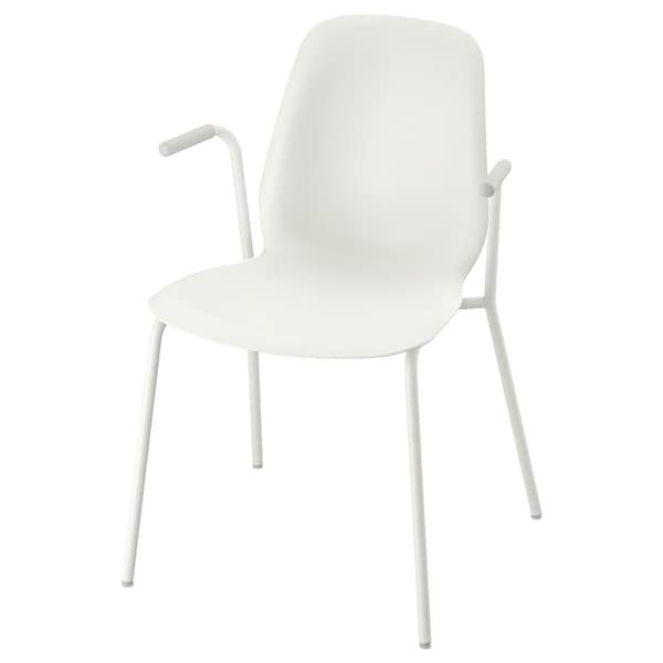LEIFARNE Chair with armrests, white/Dietmar white