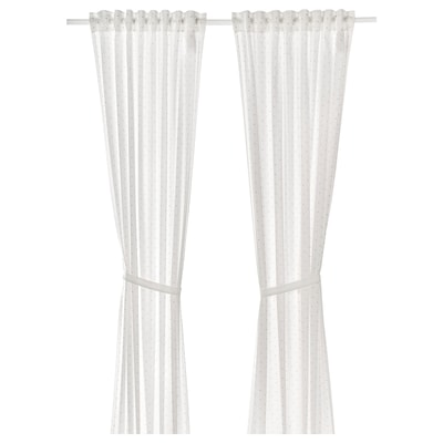 LEN Curtains with tie-backs, 1 pair, dotted/white, 120x300 cm