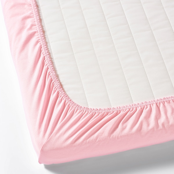LEN Fitted sheet for cot, white/pink, 60x120 cm