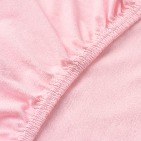 LEN Fitted sheet, pink, 80x165 cm