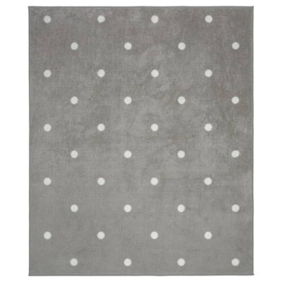LEN Rug, dotted/grey, 133x160 cm