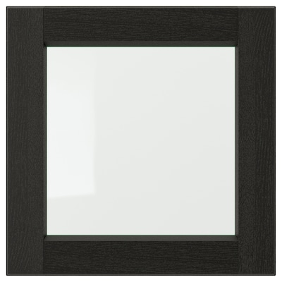 LERHYTTAN Glass door, black stained, 40x40 cm