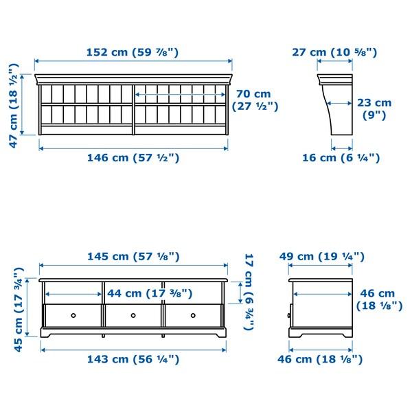LIATORP TV storage combination, white, 145x49 cm